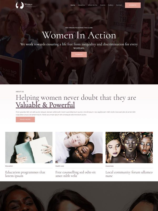 "Women Empowerment NGO <br/> <a href=""//websitedemos.net/women-empowerment-08"" target=""_blank""> See a Live Preview!</a>"
